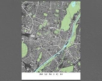 Munich Germany, City Map Print, Street Map, Buildings, Munich Map