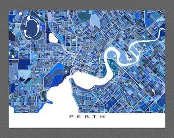 Perth Map Print, Perth Australia, City Map, Blue Street Art