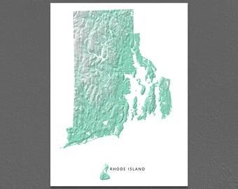 Rhode Island Map Print, Rhode Island State, Aqua, RI Landscape Art