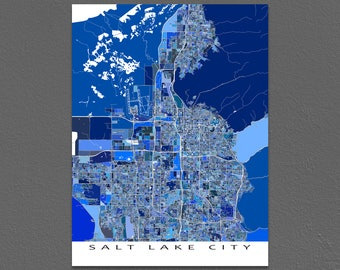Salt Lake City Map Print, Salt Lake City Utah Art Map