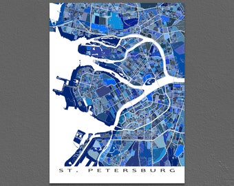 St Petersburg, Russia Map Print, St Petersburg Map Art, City Maps