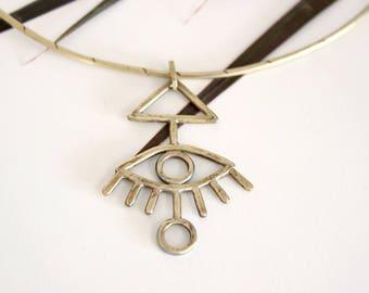 Third eye necklace / Brass jewelry / Gold choker / Boho jewelry