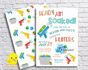 Water Gun Birthday Invitation | Water Wars Party Invitation | Squirt Gun Party | Water Balloon Birthday | Water Bash | DIGITAL FILE ONLY