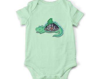 10% OFF SALE Baby bodysuit - What's inside the Dragon, Baby shower gift