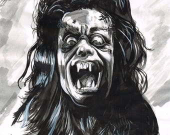 The Howling original art inkwash werewolf