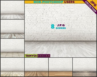 Empty Room ER-C1 | 8 JPG Interior Scene | Blank White Brick Wall | Wood Floor | Product Display Scene Creator