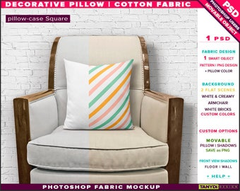 Square Decorative Pillow Cotton Fabric | Photoshop Fabric Mockup M1-S-1 | Cushion on White Creamy Armchair | Smart Object Custom colors