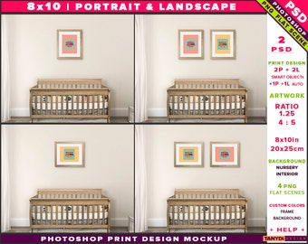Nursery Interior Photoshop Print Mockup 810-N4 | Portrait & Landscape Set of 2 Wooden Frames | Wooden crib | Smart object Custom colors