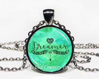 Dreamer Glass Pendant Necklace with Chain