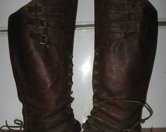 Original Vintage French Leather Military Bootlegs Legguards Boots