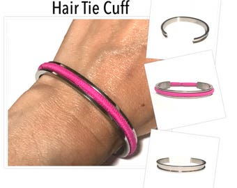 Titanium Steel Open Cuff Bracelet Grooved Cuff Bracelet, Hair Tie Cuff Bracelet, Open Cuff, Silver Bangles