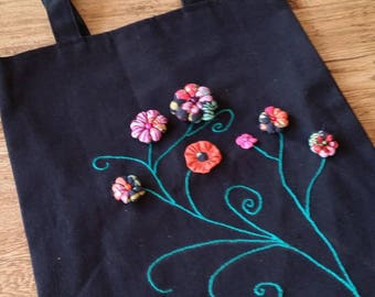 Tote Bag Black and multicolored flowers in 3D
