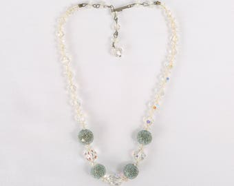 """1950's Graduated Aurora Borealis and Aqua Sugar Beads Choker Necklace, Great VTG Cond., 16"""" at longest w 2-5/8"""", 7mm Largest Bead."""