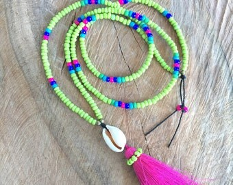 Long tassel necklace, boho beaded necklace, colorful beads necklace, long layer necklace, minimalist tassel necklace, summer party jewelry