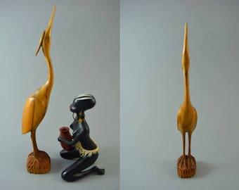 Vintage wooden crane bird sculptur figurine, Mid Century Design, popular design object of the 60s