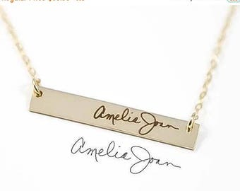 ON SALE Handwriting Bar Necklace / Engraved Handwriting Jewelry / Actual Handwriting Necklace / Memorial Jewelry / Silver, Gold Handwriting