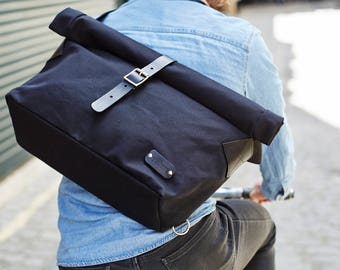 Messenger Bag / Canvas Messenger Bag / Cycle Bag / Bike Bag / Men's Messenger / Laptop Messenger / Roll Messenger / Flap Messenger / Black