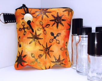 Orange Batik Essential Oil Case, Vape Juice Bag, 2-3 Bottle Young Living Oil Bag, Doterra Essential Oil Travel Case