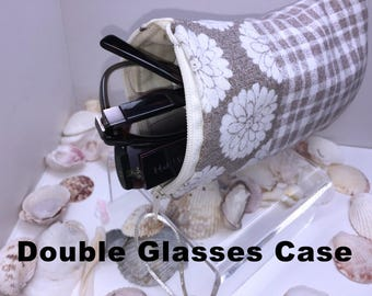Taupe Double Glasses Case, Zip Top Double Glasses Pouch Sunglasses Pouch, Eyeglasses Zipper Case, Soft Glasses Case