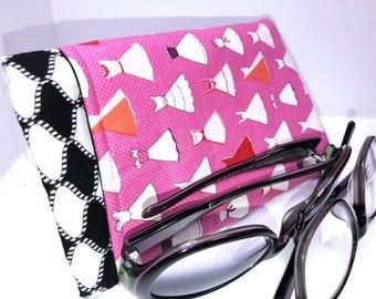 PARTY GIRL Double Eyeglass Case, Retro Double Pocket Sunglasses Pouch, 2 Pocket Eyeglasses Case, Eyeglasses Organizer