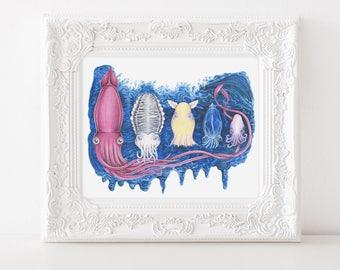 Ocean Nesting Doll Illustration, Sea Creature Art, Ocean Nursery Art, Cephalopod art, Octopus, Giant Squid, Dumbo Octopus, Glass Squid