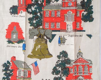 Kay Dee Historic Philadelphia Linen Tea Towel Roadside Americana Travel Souvenir