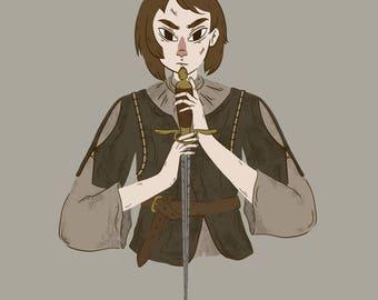 Arya Stark, valar morghulis, fine art print, Game of Thrones, 8x8, 5x5
