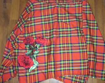Red Plaid Kilt Skirt Hand Patched with Embroidered Rose Appliqués, Asymetrical Hemline, Lightweight Wool Blend, Medium