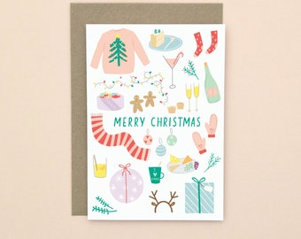 Illustrated Merry Christmas Card A6