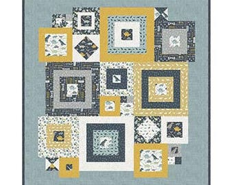 """Squared Away Quilt Pattern by Deena Rutter Designs- Finished Quilt Size 55"""" x 59"""""""