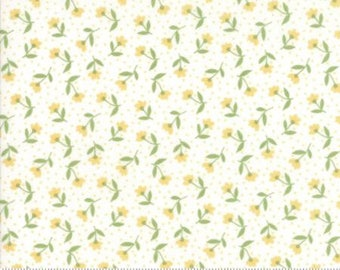 1 Yard Farmers Daughter by By Vanessa Goertzen of Lella Boutique for Moda- 5051-21 Bloom Toss Vanilla Yellow