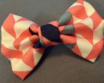 Pink, Navy, White, and Gray Bow