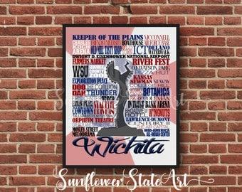 Wichita Kansas Typography, Keeper of the Plains Art, Keeper of the Plains, Blackbear Bosin, Personalized Wichita Kansas, Wichita Flag