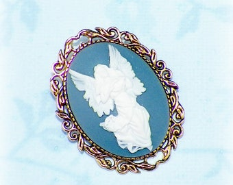 Angel Pin Brooch Cameo Victorian Blue Vintage Style Steampunk Antique Gold Style