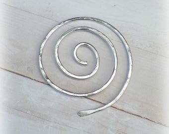 Silver Spiral Shawl Pin Penannular Mimimalistic Brooch Vintage Hammered Minimalist  Style Scarf Pin  Stick Pin