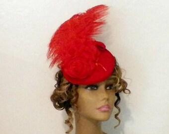 On Sale- Red Hat Fascinator Victorian Retro Vintage Style Gothic Steampunk Lolita Bridal Headpiece Old West  Marie Antoinette