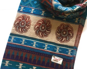 Tibetan Yak Wool Blend Shawl, Teal, Red, Floral, Paisley Design