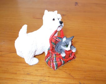Leonardo Westie (West Highland Terrier) with kitten in tartan bag - cat in tartan bag
