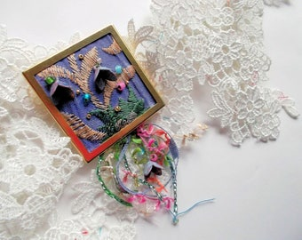 Embroidered fabric brooch blue embroidered fiber brooch silk tassel vintage shabby metal flowers embroidery brooch OOAK