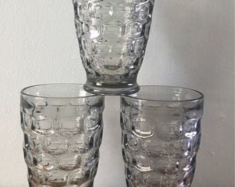 Vintage trio of Indiana Glass  / Whitehall style footed gray geometric glasses perfect for a tropical Old Florida brunch!
