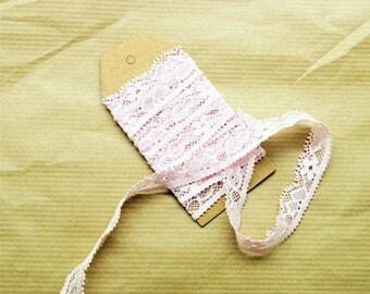 5 m elastic pink lace ribbon, large 1.4 cm