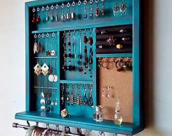 Jewelry display. earrings rack. necklace holder. TURQUOISE distressed earring holder with shelf. wall mounted jewelry storage.