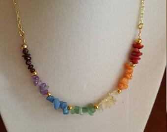 Chakra Choker Chakra Necklace Gold Choker Seven Chakra Choker Necklace Healing Crystals Gemstone Crystal Necklace Boho Hippie Gypsy Rainbow