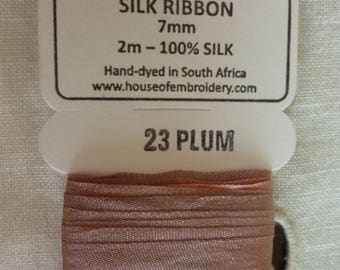 House of Embroidery collar 23 PLUM 7mm Silk Ribbon