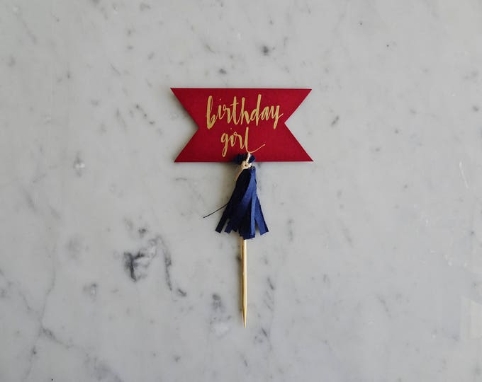 Featured listing image: Mini Cake Topper / Modern Calligraphy / Custom Hand Lettered / Red Burgundy Wine Gold / Made-To-Order/ Hand Made Mini Tassels / Birthday