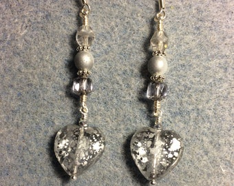 Sparkly silver Czech glass heart bead dangle earrings adorned with silver grey Czech glass beads.
