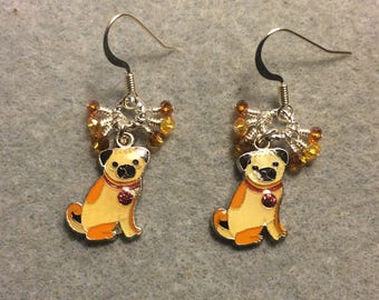 Small tan and amber enamel pug charm earrings adorned with tiny dangling tan and amber Chinese crystal beads.