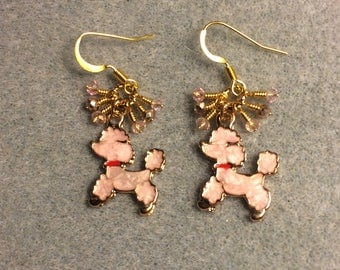 Pink and red enamel poodle charm earrings adorned with tiny dangling pink Chinese crystal beads.