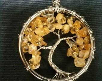 Tree of Life Pendant, Natural Citrine Crystal Wire Wrapped Tree Pendant, Handmade November Birthstone Tree Charm, World Tree