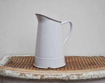 Vintage White Enamelled Pitcher / Water Pitcher Antique French Jug / Vase / bathroom / Garden Decor / French Brocante / Jeanne d'Arc Living